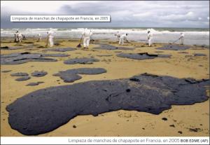 Limpiando las bolsas de fuel de las playas