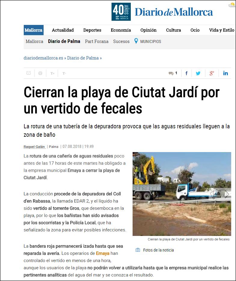 Cierre de playa en Palma por contaminación de aguas residuales